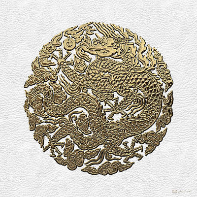 Golden Chinese Dragon White Leather  Poster by Serge Averbukh