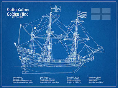 Golden Hind Or Golden Hinde Ship Plans Poster