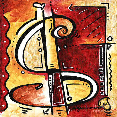 Golden Is A Fun Funky Mini Pop Art Style Original Money Painting By Megan Duncanson Poster by Megan Duncanson