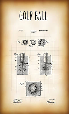 Golf Ball Patent 1902 Poster by Daniel Hagerman