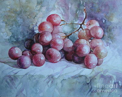Poster featuring the painting Grapes... by Elena Oleniuc