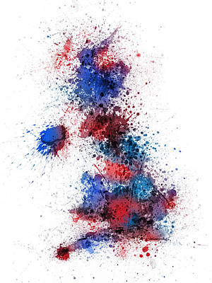 Great Britain Uk Map Paint Splashes Poster by Michael Tompsett