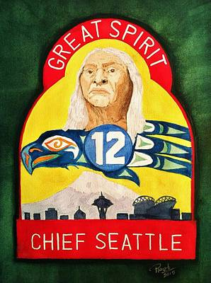 Great Spirit Seattle 12s Poster by Rand Swift