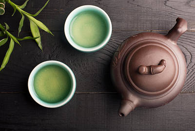 Green Tea In The Tea Cups Poster