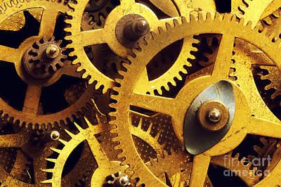 Grunge Gear Cog Wheels Background Poster
