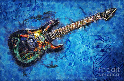 Poster featuring the digital art Guitar Love by Ian Mitchell