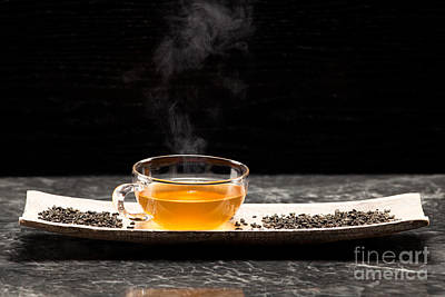 Gunpowder Green Tea In Glass Teapot Poster by Wolfgang Steiner