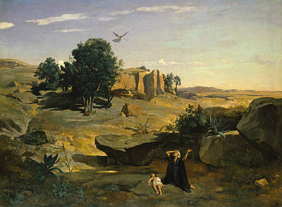 Hagar In The Wilderness Poster by Jean-Baptiste-Camille Corot