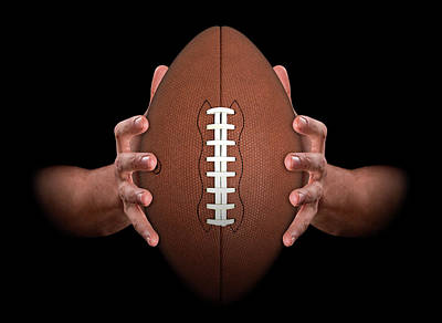 Hands Gripping Football Poster