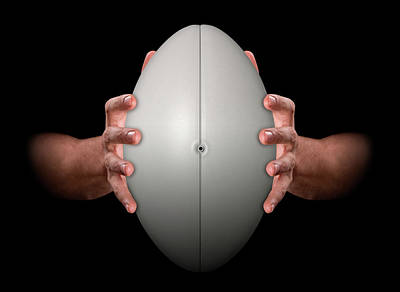 Hands Gripping Rugby Ball Poster