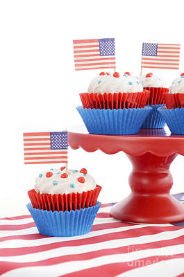 Happy Fourth Of July Cupcakes On Red Stand Poster by Milleflore Images