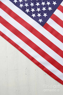 Happy Fourth Of July Usa Flag On White Wood Table Poster by Milleflore Images