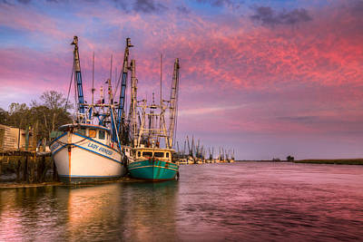 Harbor Sunset Poster by Debra and Dave Vanderlaan