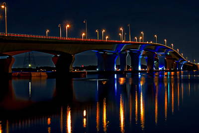 Hathaway Bridge At Night Poster