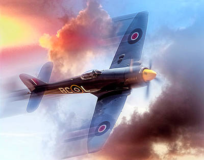 Poster featuring the photograph Hawker Sea Fury by Steve Benefiel