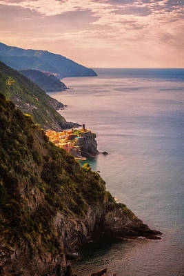 Hiking In Cinque Terre Italy Poster by Joan Carroll