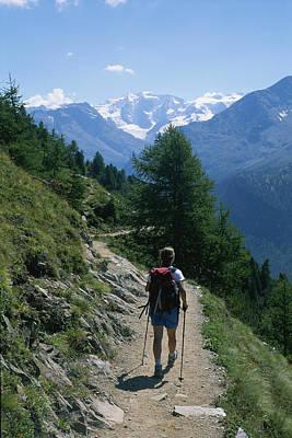 Hiking The Piz Muragl Mountain Poster