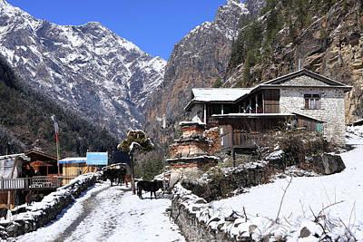 Himalayan Mountain Village Poster by Aidan Moran
