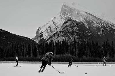 Hockey Under The Mountains Poster by Priscilla Westra