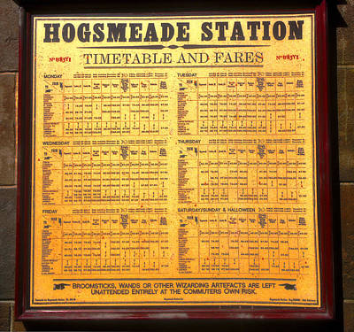 Hogsmeade Station Timetable Poster by David Lee Thompson