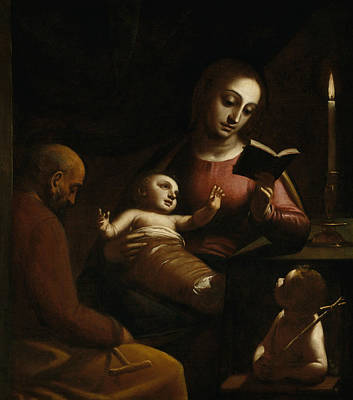 Holy Family With St John The Baptist Poster by Luca Cambiaso