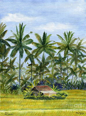 Poster featuring the painting Home Bali Ubud Indonesia by Melly Terpening