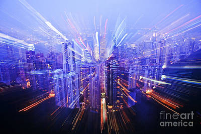 Hong Kong Lights Poster by Ray Laskowitz - Printscapes