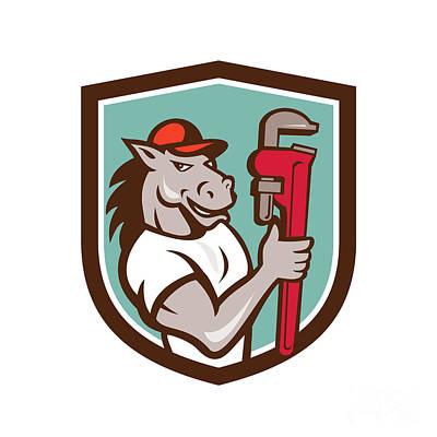 Horse Plumber  Monkey Wrench Crest Cartoon Poster by Aloysius Patrimonio
