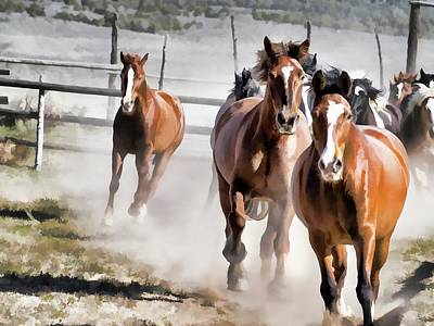 Poster featuring the digital art Horses Running Into A Dusty Ranch Corral by Nadja Rider