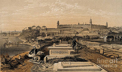 Hospital And Cemetery At Scutari, C.1854 Poster by Wellcome Images