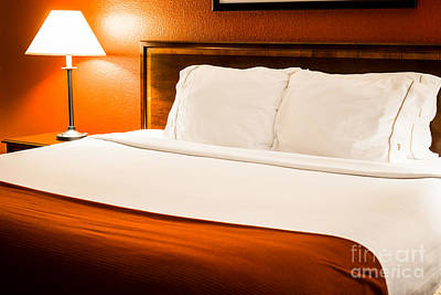 Hotel Room Bed Poster by Paul Velgos