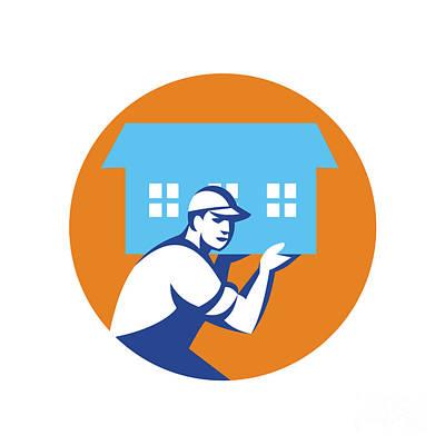 House Remover Carrying House Circle Retro Poster by Aloysius Patrimonio