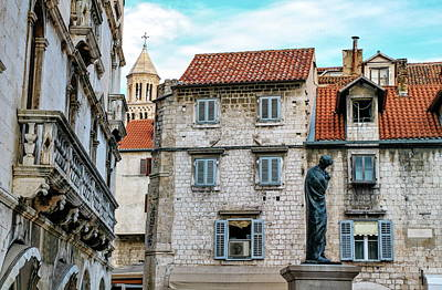 Houses And Cathedral Of Saint Domnius, Dujam, Duje, Bell Tower Old Town, Split, Croatia Poster