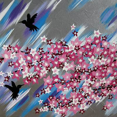 Humming Birds And Sakura Poster by Cathy Jacobs