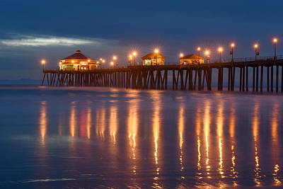 Poster featuring the photograph Huntington Beach Pier At Night by Dung Ma