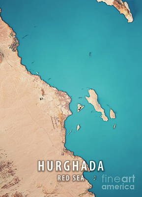 Hurghada 3d Render Satellite View Topographic Map Poster