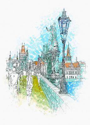 Illustration Of City Streets - Prague Poster