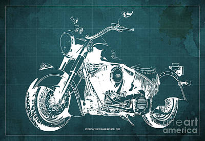 Indian Chief Dark Horse 2012  Blueprint Poster by Pablo Franchi