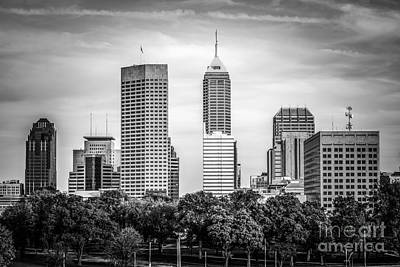 Indianapolis Skyline Black And White Picture Poster