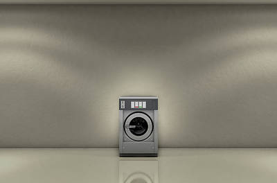 Industrial Washer In Empty Room Poster by Allan Swart