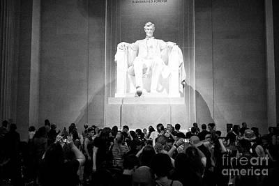 inside the lincoln memorial at night Washington DC USA Poster