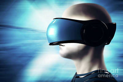 Into Virtual Reality World. Man Wearing Goggle Headset. Poster by Michal Bednarek