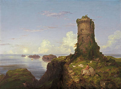 Italian Coast Scene With Ruined Tower Poster by Thomas Cole