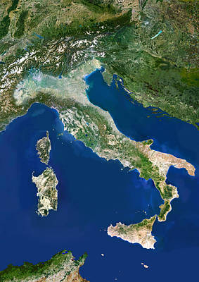 Italy, Satellite Image Poster by Planetobserver