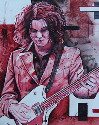 Poster featuring the drawing Jack White by Joshua Morton