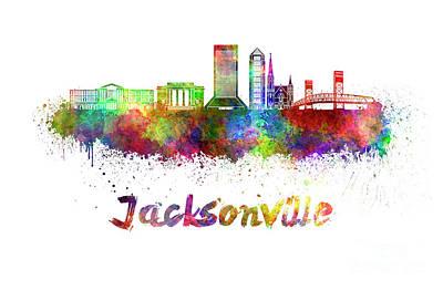 Jacksonville Skyline In Watercolor Poster by Pablo Romero