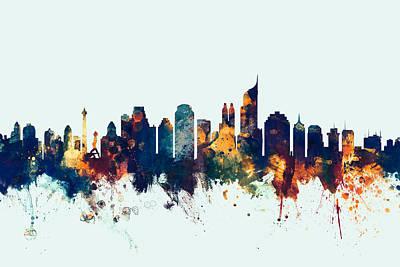 Jakarta Skyline Indonesia Bombay Poster by Michael Tompsett