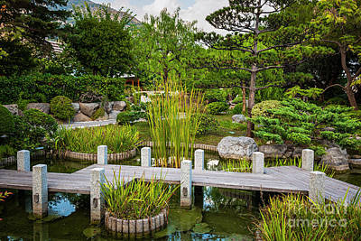 Japanese Garden In Monte Carlo Poster by Elena Elisseeva