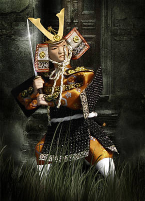 Japanese Samurai Doll Poster by Christine Till