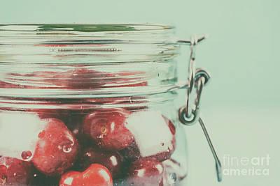 Jar Of Red Fresh Cherries Poster by Radu Bercan